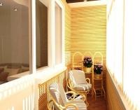 Популярное решение в дизайне балкона - отделка бамбуком