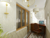 Классическое оформление кабинета на балконе никогда не потеряет свою актуальность