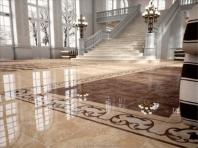 керамогранитная плитка на полу в холле
