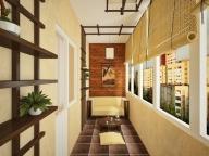 Восточный стиль для просторной лоджии